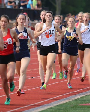 Brighton's Maddie Brown (10) finished eighth in the 800-meter run at the state Division 1 track and field meet at East Kentwood on Saturday, June 1, 2019.