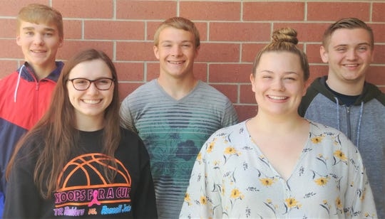 Badger Boys and Girls State delegates have been named at Two Rivers High School. Pictured are, back row, from left: Cody Lewis, Wilhelm Schmid and Ethan Wondrash; and front row, from left: Aubrey Polich and Natalie Hawki.