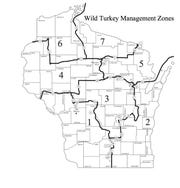 Wisconsin wild turkey management zones.