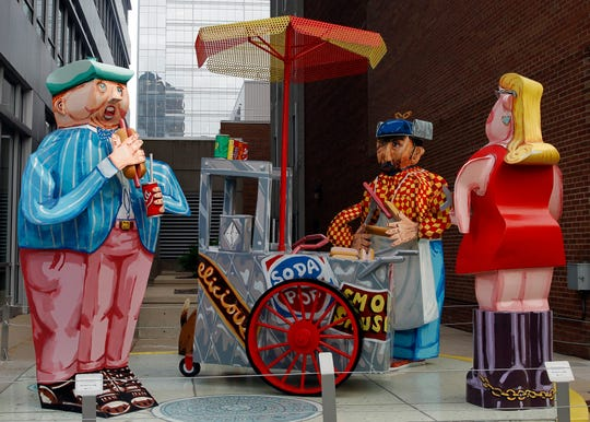 """Hot Dog Vendor"" (2005), by artist Red Grooms, is located at  875 E. Wisconsin Ave."
