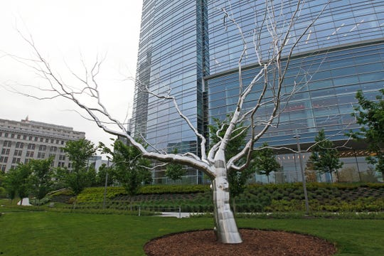 """Cleft"" from the series ""Dendroids,"" by artist Roxy Paine, is located on the eastern side of the park in front of the Northwestern Mutual Tower."