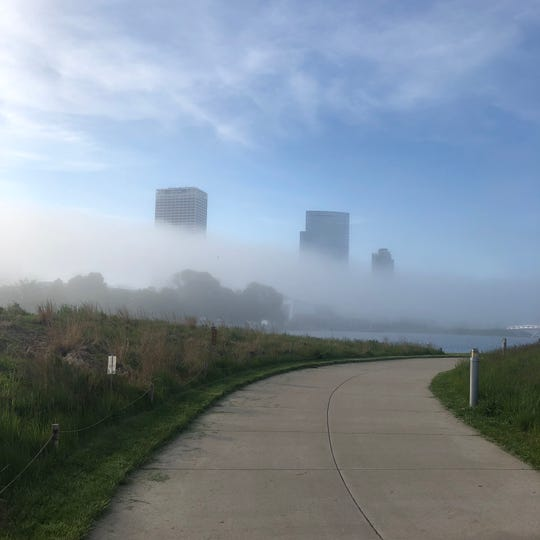 Carly Moede took this photo of fog engulfing downtown Milwaukee Thursday from Lakeshore State Park.