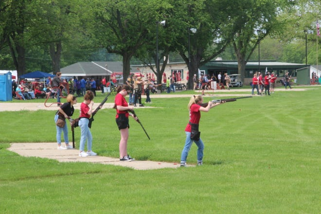 Participants at the 2019 Southeast Wisconsin Youth Trapshooting Conference tournament line the trap fields June 1 at Waukesha Gun Club in Waukesha, Wis.