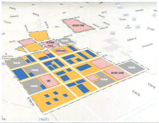 This map shows the perimeter of the proposed entertainment district in downtown Mountain Home. The areas in yellow are where patrons could consume alcoholic beverages in public, while the red areas are locations that would be excluded from the district.