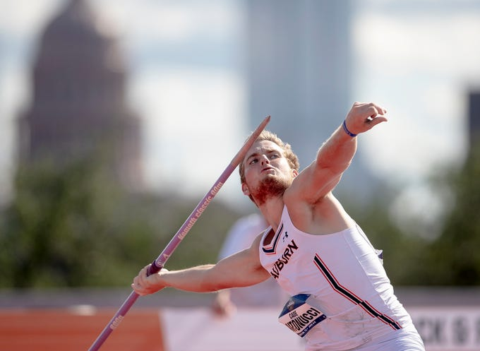 Auburn's Cade Antonucci throws the javelin during the NCAA outdoor track and field championships Wednesday, June 5, 2019, in Austin, Texas. (Nick Wagner/Austin American-Statesman via AP)