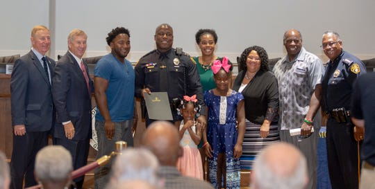 Montgomery police Lt. Antavione Ferguson poses for a photo during a promotional ceremony.