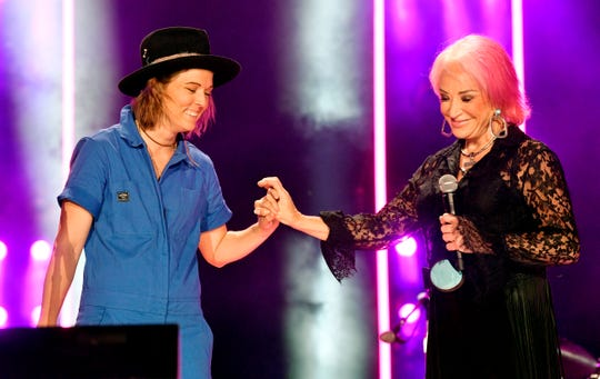 Brandi Carlile and Tanya Tucker perform together during the 2019 CMA Fest Thursday, June 6, 2019, at Nissan Stadium in Nashville, Tenn.