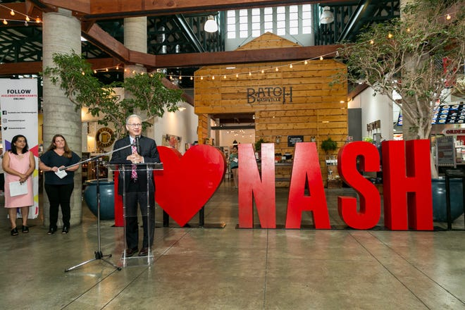 Nashville Mayor David Briley and immigration advocates unveiled a new  sculpture honoring Immigration Heritage Month at the Nashville Farmers' Market an event Friday morning, June 7, 2019.