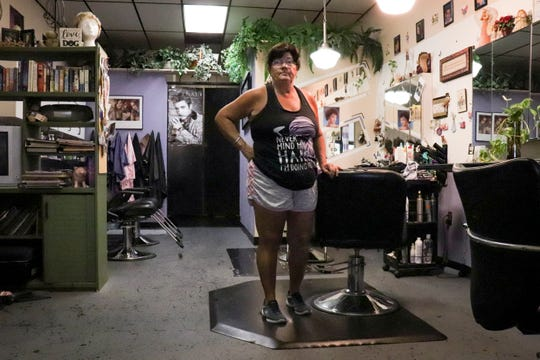 Debra Gaddis started working in Hancock Bridge Square 35 years ago, and opened her own hair salon 15 years ago.