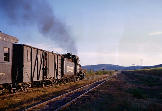 Mexico, 1963: In 1963, after it had met train No. 110 at Canales, National Railways of Mexico train No. 257, pulled by locomotive No. 288, starts out of the siding to continue its journey on the 3-foot-gauge line.