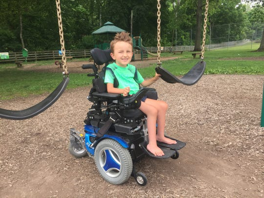 Eli Guard, 5, during a recent interview/visit to Memorial Park on June 7, 2019. His mother, Nichole, recently worked to get accessible swings for kids like Eli for four Pataskala parks, still be installed.