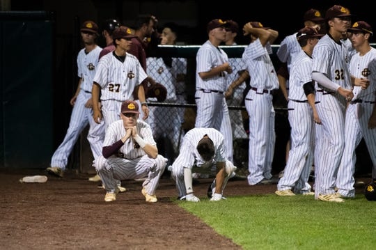 Gloucester Catholic reacts to a 4-3 loss to St. Mary in a Non-Public B state championship game at Veterans Park in Hamilton Township Thursday, June 6, 2019.