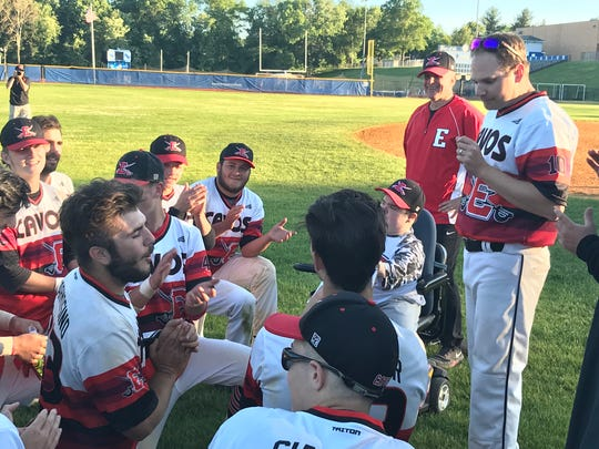 Coach Chris Sommerhalter addresses the Emerson baseball team after an eight-inning, 9-8 win over New Providence in the NJSIAA Group 1 semifinals on Monday, June 3, 2019.