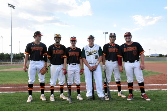 Six players represented local high schools at this year's State High School All-Star games.  They are from left to right: Wilson Bannister, Fernando Loera, Dominic Tellez, Jacob Moreno Benito Garcia and Brent Rightrup.