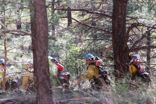 A Lincoln National Forest hot shots team heads towards an ignition point June 7.
