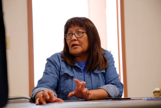 U.S. Army veteran Cecelia B. Finona talks about problems veterans often have when applying for services on March 20 at the Northern Navajo Veterans Center in Shiprock. She has been reported missing by family members.
