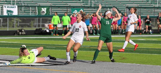 Novi's Avery Fenchel reacts after scoring her first goal of the game against Grand Blanc.