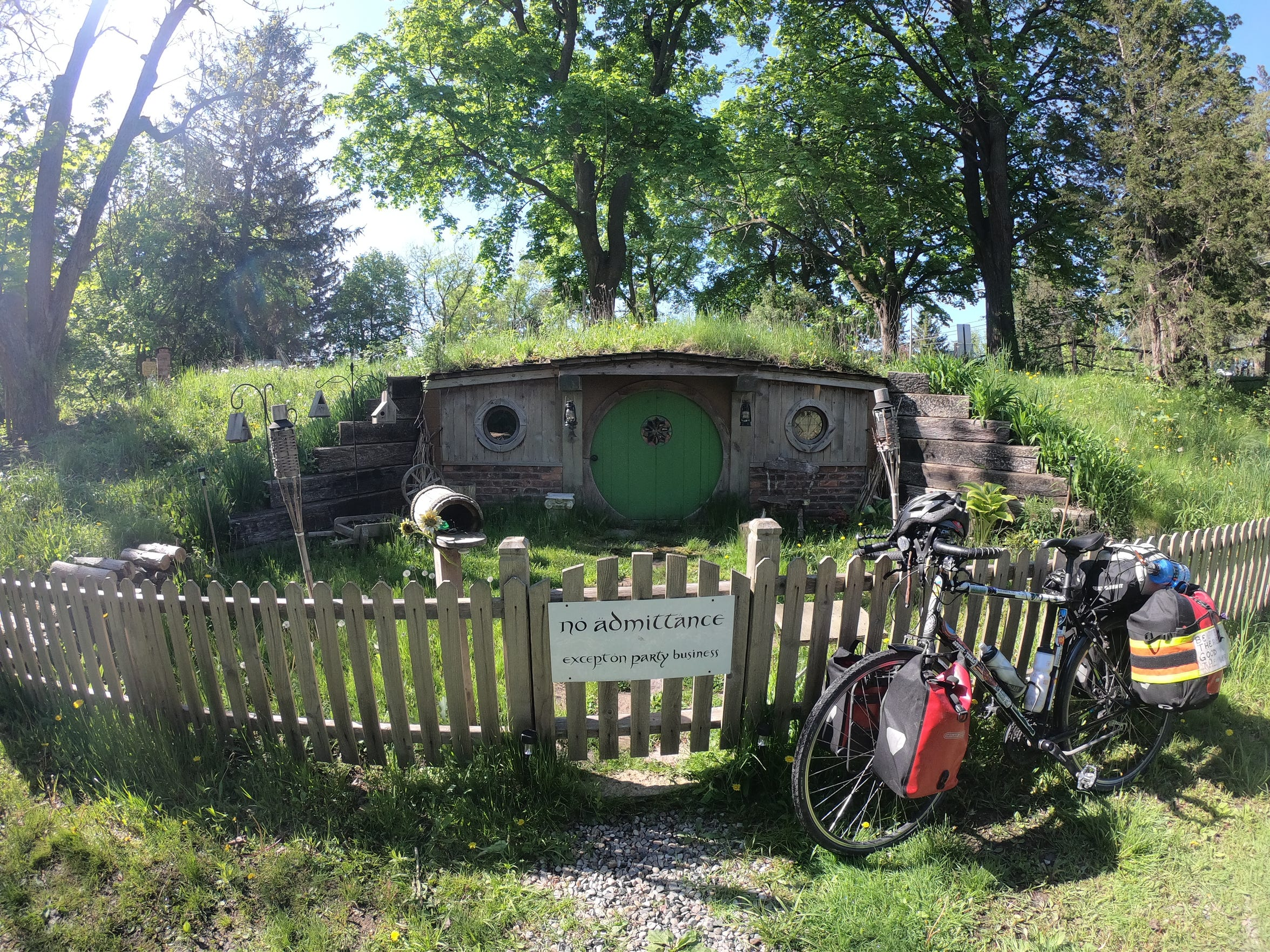In Yale, Michigan, the bicyclists stayed at the Morrishire, a cozy hobbithole.