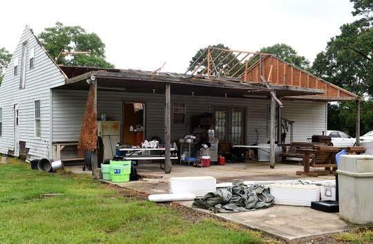 Mills Road residence received heavy damage during storm in Sunset on Thursday.