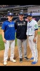 Former Palm Desert baseball players (from left) Brian Serven, Brooks Kriske and Scotty Burcham were reunited during a Double A game in Hartford, Connecticut on Tuesday.