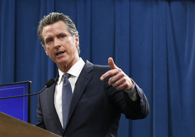 Gov. Gavin Newsom, photographed in May, apologized on Tuesday, June 18, 2019, for past violence and exploitation done to Native Americans in California.