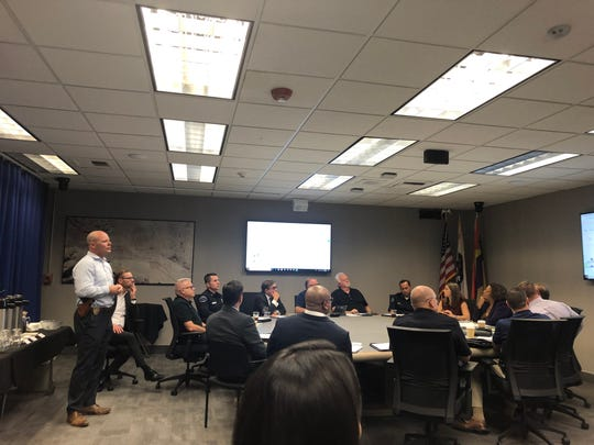 Palm Springs police Lt. William Hutchinson addresses the ERICA board meeting on Thursday, June 6, 2019, in Palm Springs City Hall.