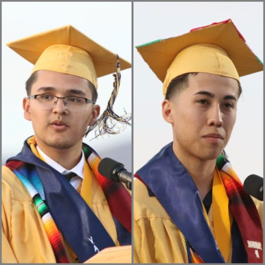 Desert Hot Springs High School's Class of 2019 co-valedictorians, Jorge Castañeda, 18, left,and Gilbert Regalado, 17 each addressed their classmates Thursday, June 6, 2019 during graduation ceremonies.