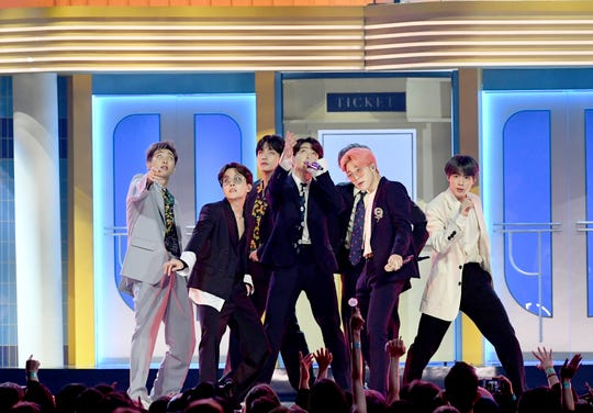 BTS perform onstage during the 2019 Billboard Music Awards at MGM Grand Garden Arena on May 1, 2019, in Las Vegas.