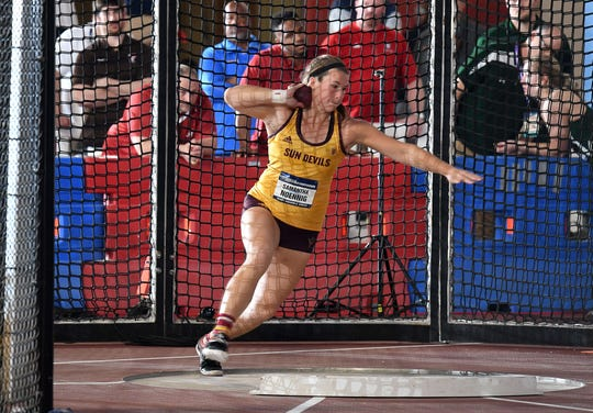 Mar 8, 2019; Birmingham, AL, USA; Samantha Noennig of Arizona State wins the women's shot put at 58-9 1/4 (17.91m)  during the NCAA Indoor Track & Field Championships at Birmingham CrossPlex. Mandatory Credit: Kirby Lee-USA TODAY Sports