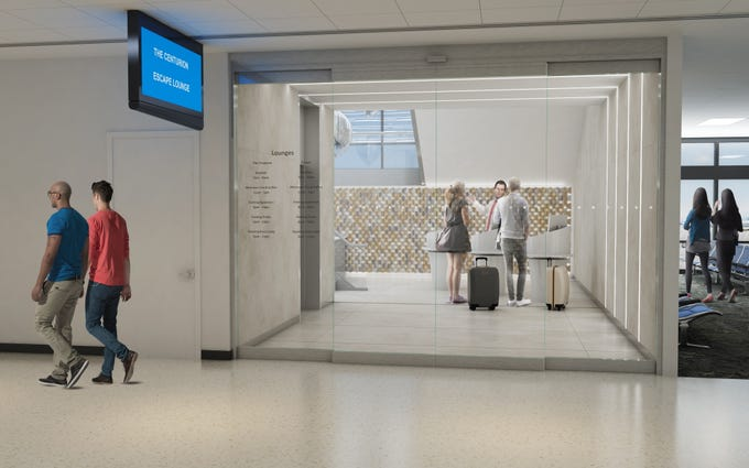 Rendering of the future entrance to the American Express Centurion Lounge and Escape lounge. The Escape Lounge is a general The lounge is a card benefit for Platinum and Centurion card holders.