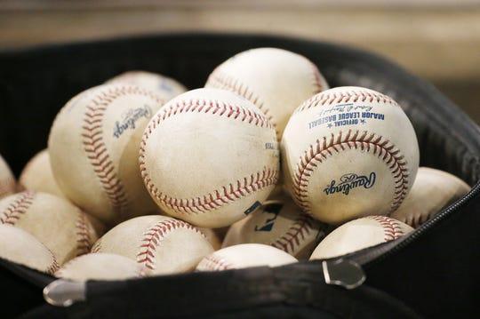 Baseballs at Chase Field in Phoenix, Ariz. July 25, 2017.