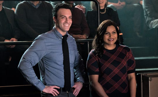 "Reid Scott and Mindy Kaling star in ""Late Night."""