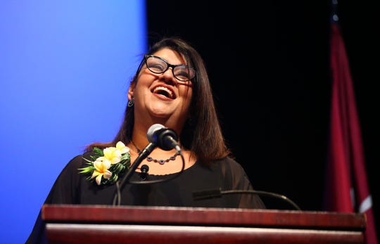 New City of Phoenix Councilwoman for District 5, Betty Guardado, makes her first remarks during the inauguration ceremony on June 6, 2019, at the Orpheum Theatre in Phoenix, Ariz.