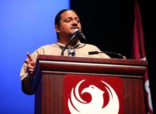 New City of Phoenix Councilman for District 8, Carlos Garcia, makes his first remarks during the inauguration ceremony on June 6, 2019, at the Orpheum Theatre in Phoenix, Ariz.