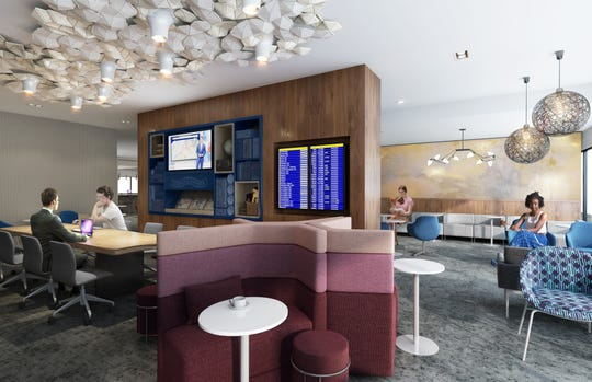Rendering of the lounge space in the future American Express Centurion Lounge at Sky Harbor International Airport.