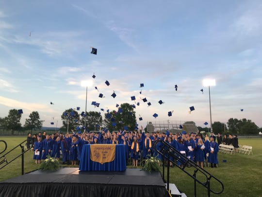 The Class of 2019 joyfully throws their caps into the air after the graduation ceremony at Northern Lebanon High School is complete.