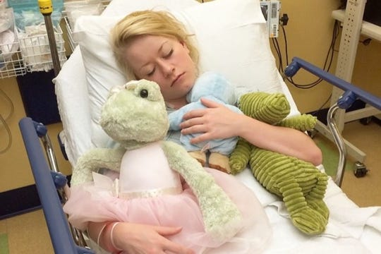 Hannah Winkler will be undergoing open heart surgery in New York. She is pictured during a previous hospital stay.