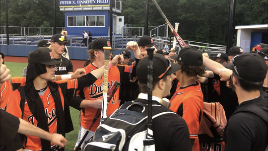 The Marlboro baseball team huddles after its win over Westlake in the Class B regional semifinal at Pace University on Thursday.