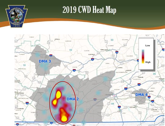 A heat map showing the 2019 disease management areas in Pa. for Chronic Wasting Disease.