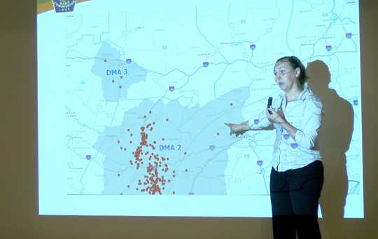 CWD communications specialist Courtney Colley goes over the 2019 disease management map for Pennsylvania, which has been expanded over 2000 square miles.