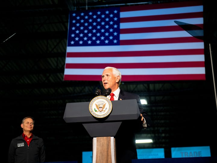Vice President Mike Pence talk about the presidentÕs proposed trade plans, June 6, 2019.