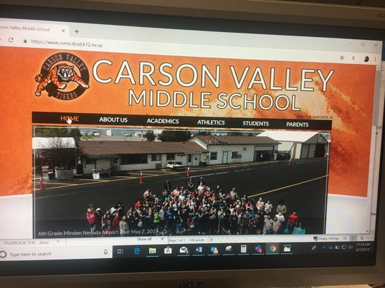 A screen shot of the Carson Valley Middle School website. The school's annual yearbook was distributed this week with some of the names in the index replaces with derogatory nicknames.