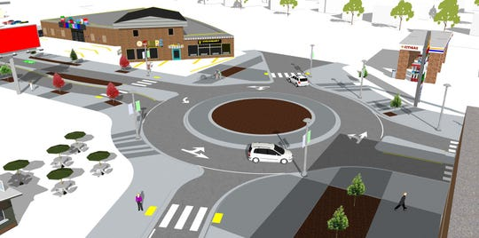 A rendering of the new Midtown Reno roundabout  planned as part of the RTC Virginia Street Project.