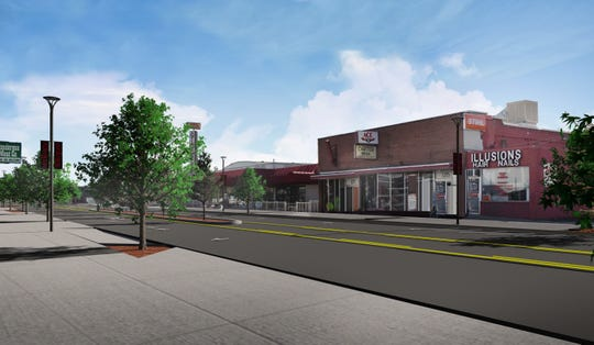 A rendering of South Virginia Street near Vassar Street after improvements on Midtown Reno from the Virginia Street Project.