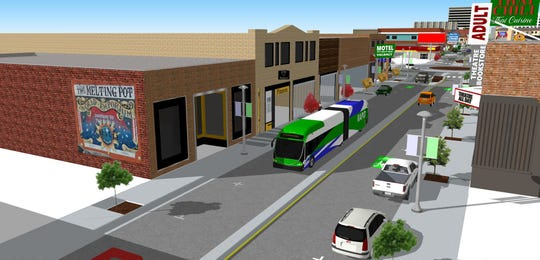 A rendering of South Virginia Street between Mary and Vassar after improvements from the Virginia Street Project.