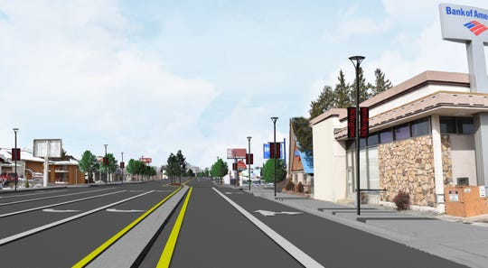 A rendering of South Virginia Street near Plumb Lane after improvements from the Virginia Street Project.