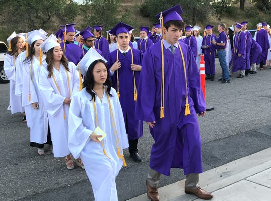Shasta High School seniors attend their graduation on June 6, 2019. The Class of 2020 may not be able to have a traditional graduation ceremony this June due to the coronavirus pandemic.