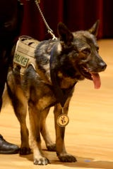 K-9 Officer Enzo is recognized for ten years of service to the Salem Police upon his retirement during the Salem Police Department Awards and Promotions Ceremony in the Loucks Auditorium at the Salem Public Library on June 7, 2019.