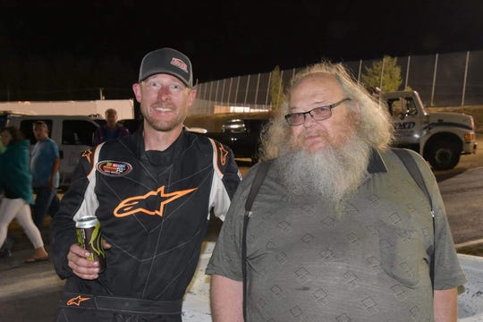 Alan Cress (left) with car owner Bruce Latta after winning the Miller 200 at South Sound Speedway in 2018.