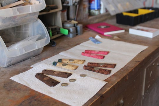 A few 1911 pistol grips Crystal Glaspie is working on at her shop in San Angelo Friday, June 7, 2019.